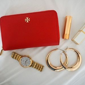 Tory Burch Red Mini Continental Zip Wallet